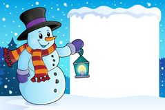 Frame with snowman topic 4 Royalty Free Stock Image