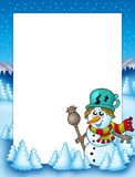 Frame with snowman and trees Royalty Free Stock Photo