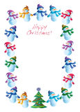 Frame with snowmen and christmas tree stock illustration