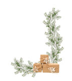 Frame from the snowy fir branches and Christmas gifts.  stock photo