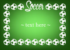Frame with soccer balls. On a green background. Vector illustration Stock Photography