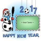 Frame with soccer balls and snowman Royalty Free Stock Photography