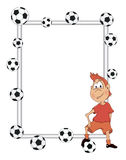 Frame with a soccer player cartoon Royalty Free Stock Photos