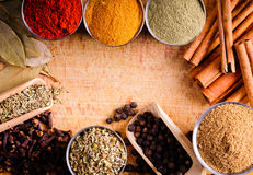 frame with spices stock images