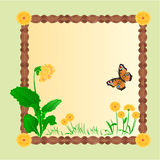 Frame spring flower primrose with butterfly vector Stock Photos