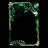 Frame spring green leaves, ornamental, flowering Nouveau stained. Glass window vector illustration Stock Photo