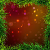 Frame spruce and red-orange background lights, Royalty Free Stock Photos