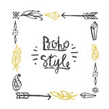 Frame square drawn in chalk in boho style. Stock Photography