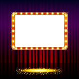 Frame on stage curtain with lights Stock Photos
