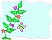 Frame with Stalk of Flowers and Butterfly Royalty Free Stock Photos