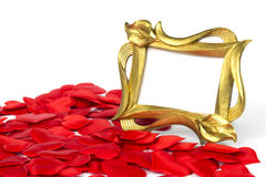 Frame standing next to red hearts & white. Frame standing next to red hearts in white background Stock Photos