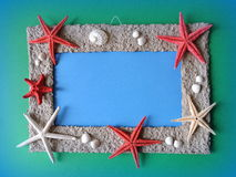 Frame with starfishes Stock Photo