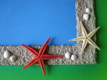 Frame with starfishes Royalty Free Stock Photography