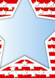 Frame with stars. An advertising frame with a big star in front of a striped background Stock Images