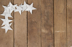 Frame of stars on wood Royalty Free Stock Photography