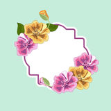 Frame and stickers with vintage flowers. Stock Images