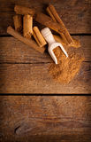 Frame with sticks and ground celyon cinnamon Stock Photography