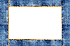 Frame of stitched blue jeans on cardboard Stock Photography