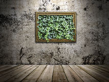 Frame on the stone wall with green leaves inside Royalty Free Stock Photography