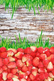 Frame of strawberries and grass and wooden background Stock Image
