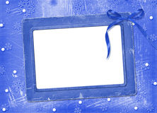 Frame with streamer for photo. On the Winter background Royalty Free Stock Images