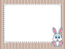 Frame stripes greetings card with rabbit. PNG available Royalty Free Stock Images