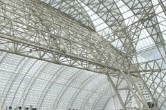Frame structure of a modern building roof Stock Photos