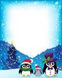 Frame with stylized Christmas penguins 1 Stock Photography