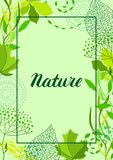 Frame of stylized green leaves for greeting cards. Nature illustration royalty free illustration