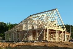 Frame Of A Suburban Home Under Construction Royalty Free Stock Image