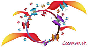 Frame summer. Summer frame with colorful butterflies Royalty Free Stock Image