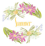 Frame of summer flowers Royalty Free Stock Images