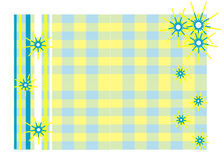 The frame of the sun. Illustration frame of the sun against the backdrop of yellow and blue squares Vector Illustration
