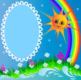 Frame with sun butterfly and rainbow. Illustration frame with sun butterfly and rainbow Royalty Free Stock Photography