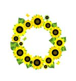 Frame with sunflower applique Royalty Free Stock Images