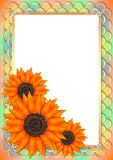 Frame with sunflowers in style of scrapbooking Stock Photo