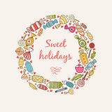 Frame with sweets and candy. Frame border sweet holidays. Vector illustration Stock Image
