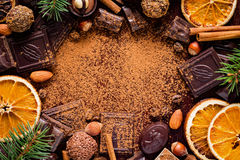 Frame of sweets, chocolates, truffles, nuts and dried fruits Stock Photos