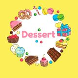 Frame of sweets. Set of candy and cakes.  Stock Images