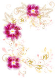 Frame from swirl ornament and flowers Stock Image