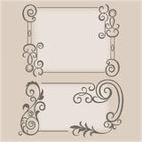 Frame swirling elements ornamental pattern Stock Photo