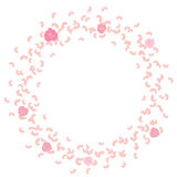 A frame of swirling, flying petals, roses. Whirlwind, wedding background Royalty Free Stock Photo