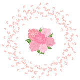 A frame of swirling flying rose petals with a bouquet of bride of six roses in the center. Whirlwind wedding background Royalty Free Stock Photos