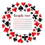 Frame with symbols of playing cards. A round frame with symbols of playing cards Stock Images