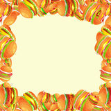 Frame from tasty burger grilled beef and fresh vegetables dressed with sauce bun for snack, american hamburger fast food. Tasty burger with grilled beef and Royalty Free Stock Photography