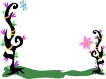 Frame of Tattoo Plants, Flowers, Rings, Dragonfly, Stock Photography