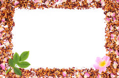 Frame of tea grains, dried wild rose petals and fresh flower, copy space for text Royalty Free Stock Photography