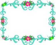 Frame of Teal Leaves and Flowers Stock Photo