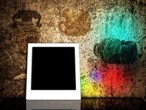 Frame tegen abstracte grunge sjofele achtergrond Stock Afbeeldingen