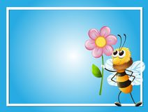 Frame template with bee and flower. Illustration Stock Image